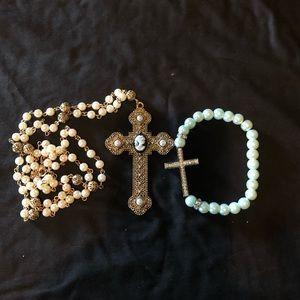 Cross bracelet & rosary beads; rhinestones & metal